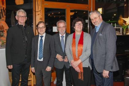 Präsident M. Matthei, Stadtrat M. Karnetzki, Verbandsvorsitzender R.-J. Krüger, Stadträtin M. Schellenberg, BVV Vorsteher R. Rögner-Francke auf dem Jahresempfang